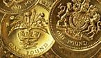 Cascading pound coins.