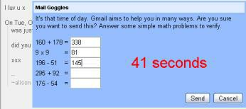 Gmail mail goggles maths questions