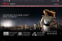 Screen shot of Westfield shopping centre website