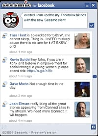 Seesmic Facebook screenshot