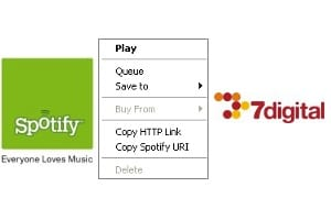 Spotify and 7digital MP3 download
