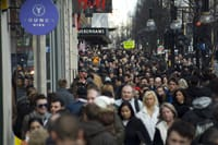 Crowded shopping street