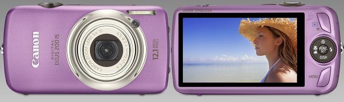 Canon Digital Ixus 200 IS purple camera - front and rear, with touchscreen