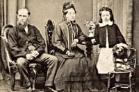 black and white photo of victorian family