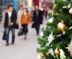 Shoppers at Christmas in a shopping mall