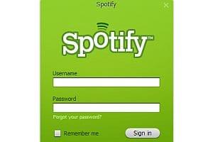 Spotify login screen