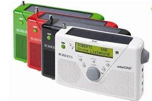 Roberts SolarDAB digital radio - white, black, red, green