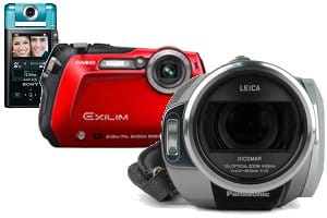 Sony Bloggie pocket camcorder, Casio Exilim camera, Panasonic HD camcorder