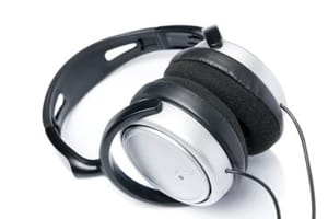 Over ear headphones with a back-of-head strap