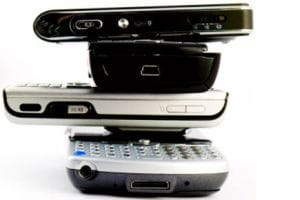 A stack of mobile phones