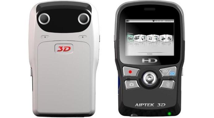 Aiptek 3D-HD pocket camcorder - front and rear - black