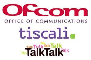 Ofcom, Tiscali, TalkTalk logos