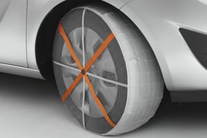 snow sock on a tyre