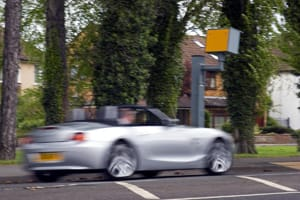 BMW Z4 going past speed camera