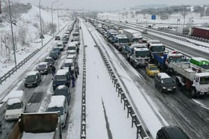 Snow traffic jam