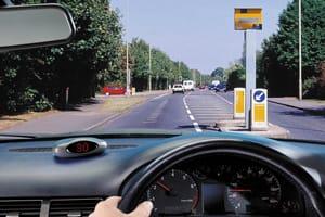 Motorist approaching speed camera