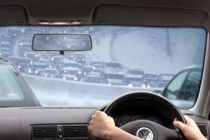 VW in traffic jam in snow
