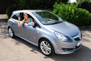 New female driver in Vauxhall Corsa