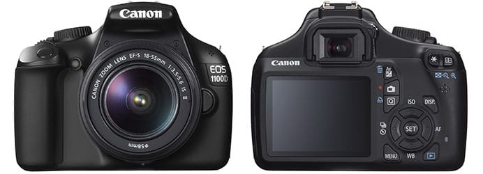 Canon EOS 1100D entry-level 12Mp DSLR - black - front and rear