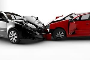 Aftermath of a head-on car crash