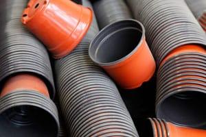 Pile of plastic pots