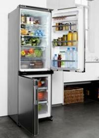 Sharp dual-swing door fridge-freezer