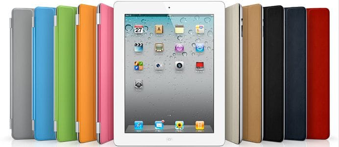 Apple iPad 2 - white - with multi-coloured Smartcovers