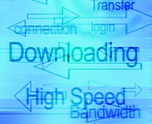 A graphic showing broadband related words on a blue background