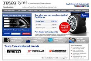 Tesco Tyres homepage