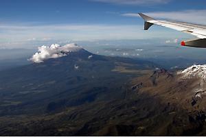 Plane and volcano
