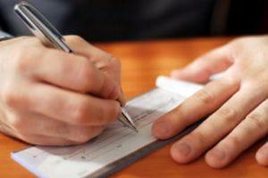 Cheque being written