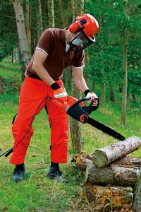 Using a chainsaw