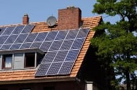 Solar panel on roof of house