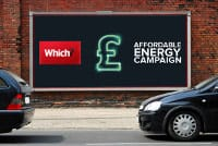 Roadside advert showing affordable energy campaign picture