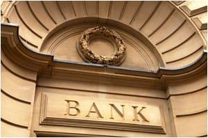 Bank sign on wall