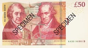 Back of new 50 pound note