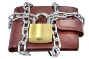 Income protection padlocked wallet