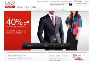 An image of the new M&S Outlet website, which is a collaboration between Marks & Spencer and Amazon