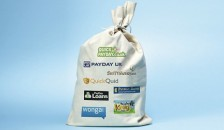 Sack of money with payday loan logos