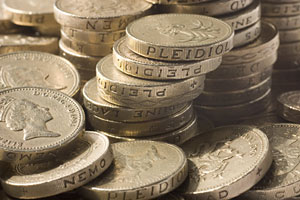 Savings - stacks of pound coins