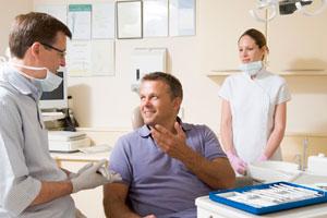patient talks to dentist