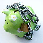 Piggy bank with padlock, fixed rate savings bond