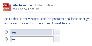 Facebook poll - should PM keep his energy tariff promise