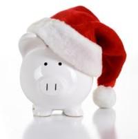 Christmas hat on piggy bank