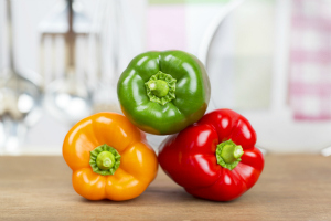 Red, yellow and green and peppers