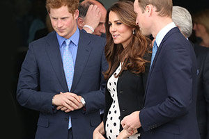 Pregnant Kate Middleton with Princes William and Harry