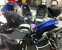 A batch of pushchairs being tested by Which?