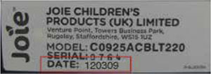 Joie Stages child car seat label