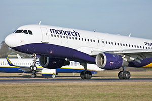 A Monarch Airlines aeroplane on runway