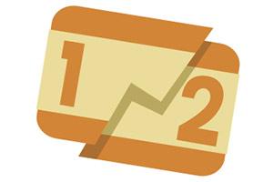 Graphic representing a split fared train ticket